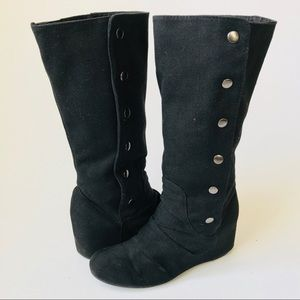 ALDO Black Canvas Button-up Ruched Knee High Boots